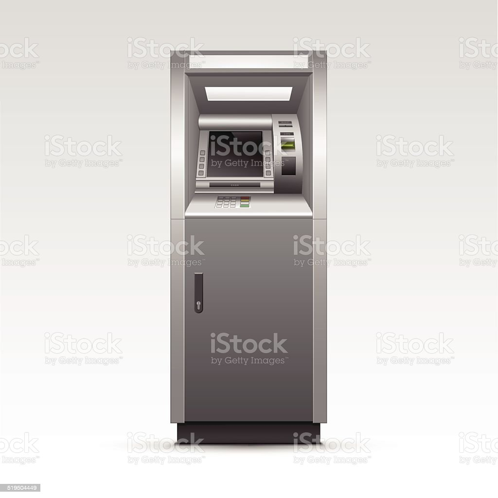 Vector ATM Bank Cash Machine Isolated on Background vector art illustration