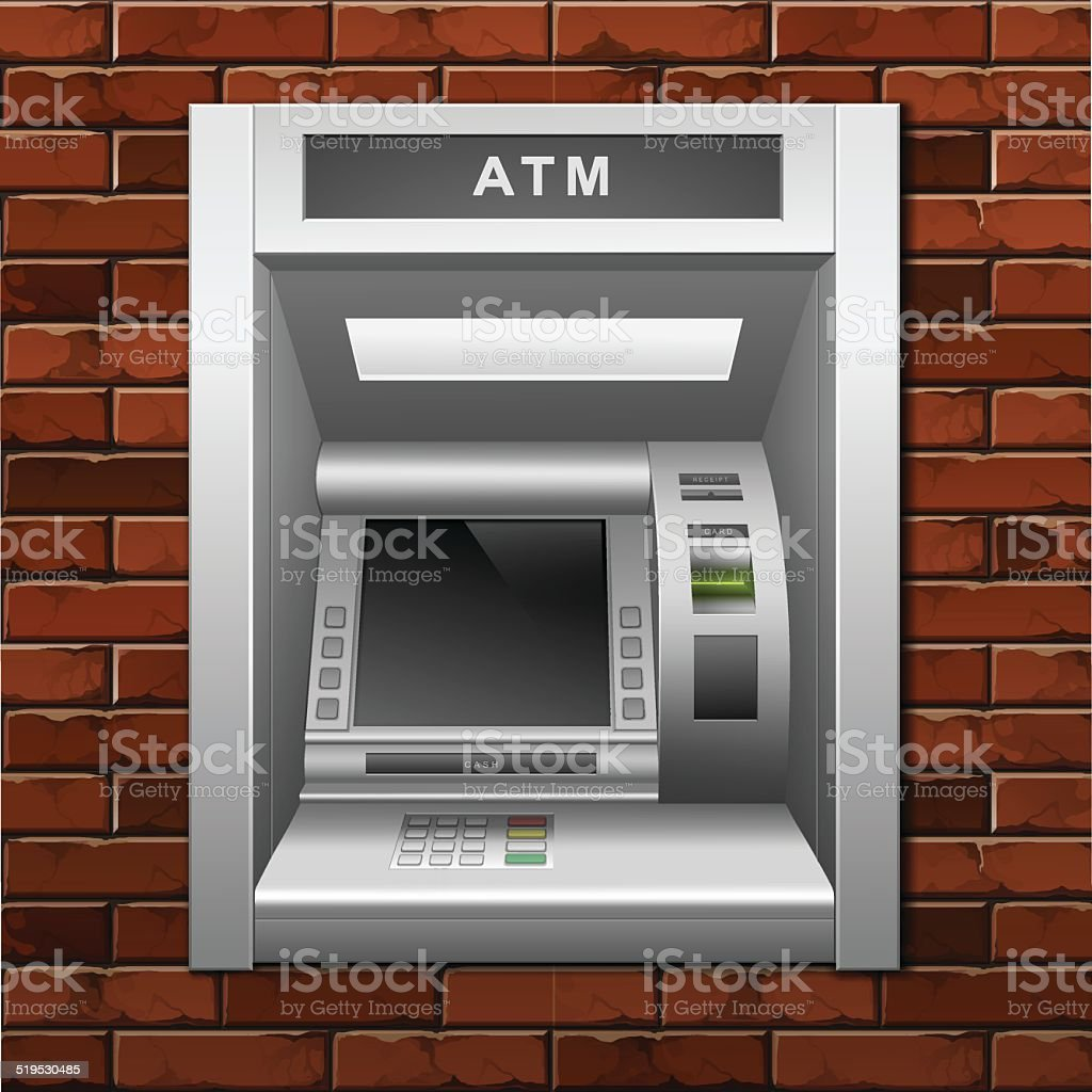 Vector ATM Bank Cash Machine on a Brick Wall Background vector art illustration
