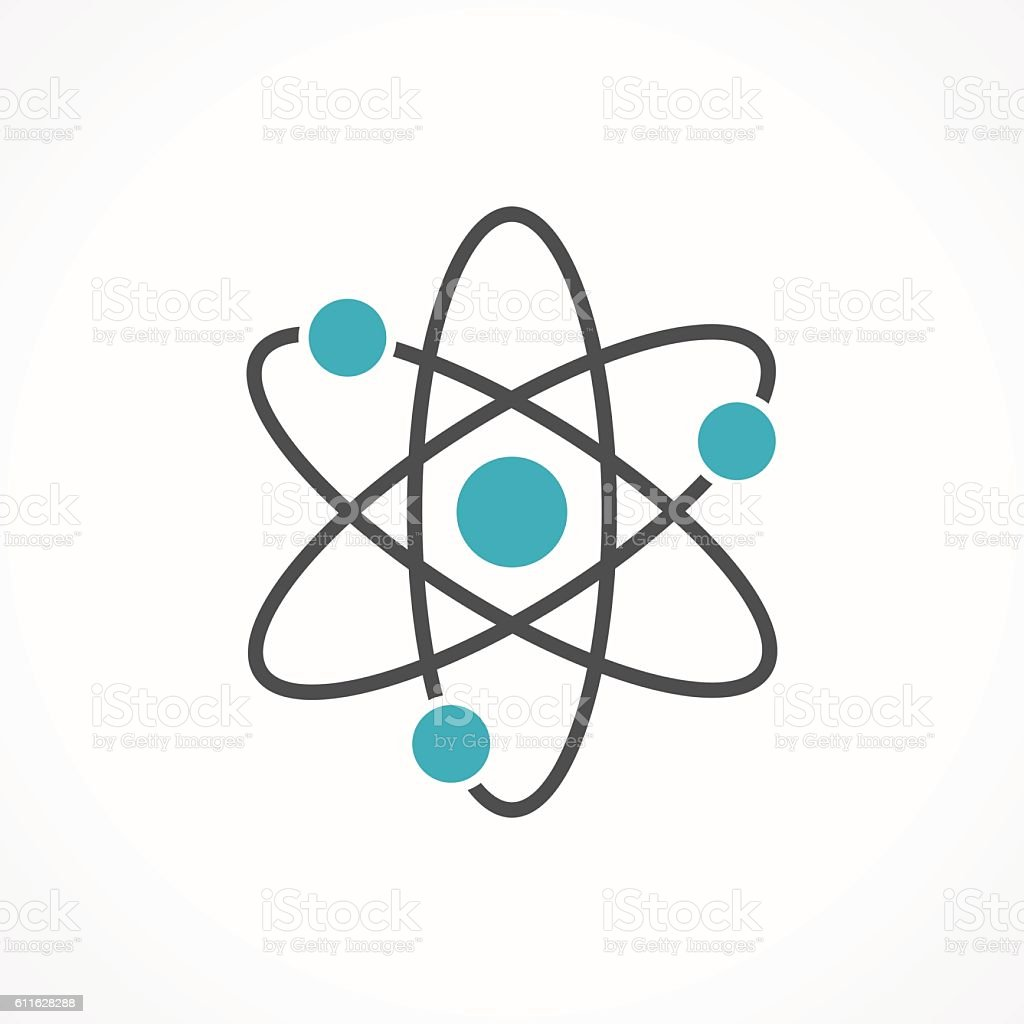 Vector atom icon isolated on white background vector art illustration