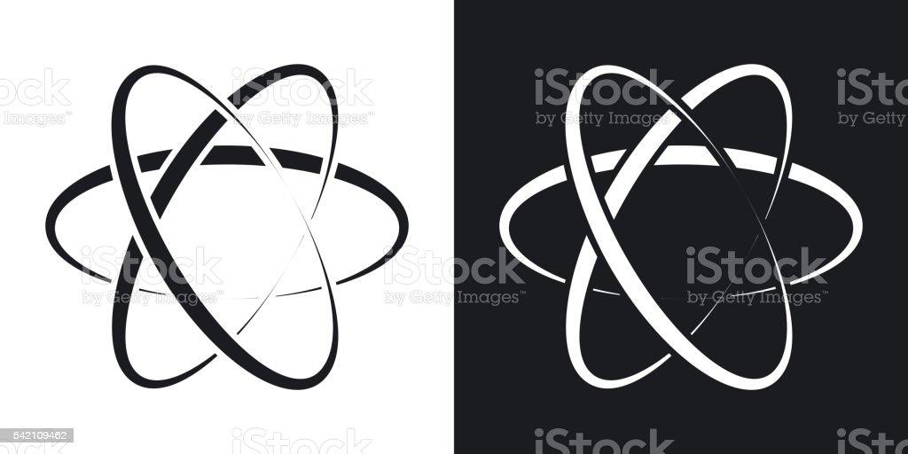 Vector atom icon. Two-tone version vector art illustration