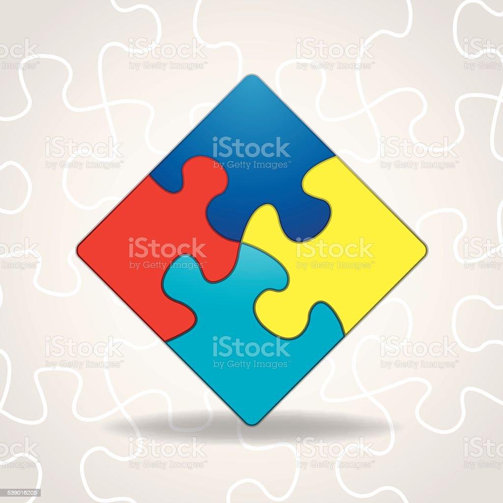 Vector Autism Awareness Puzzle Pieces Illustration vector art illustration