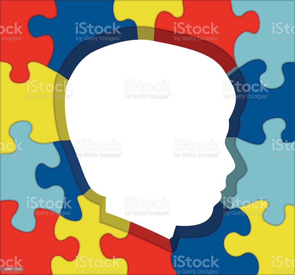 Vector Autism Awareness Puzzle Silhouette Illustration vector art illustration