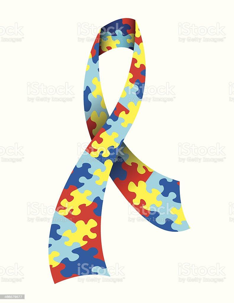 Vector Autism Awareness Ribbon vector art illustration