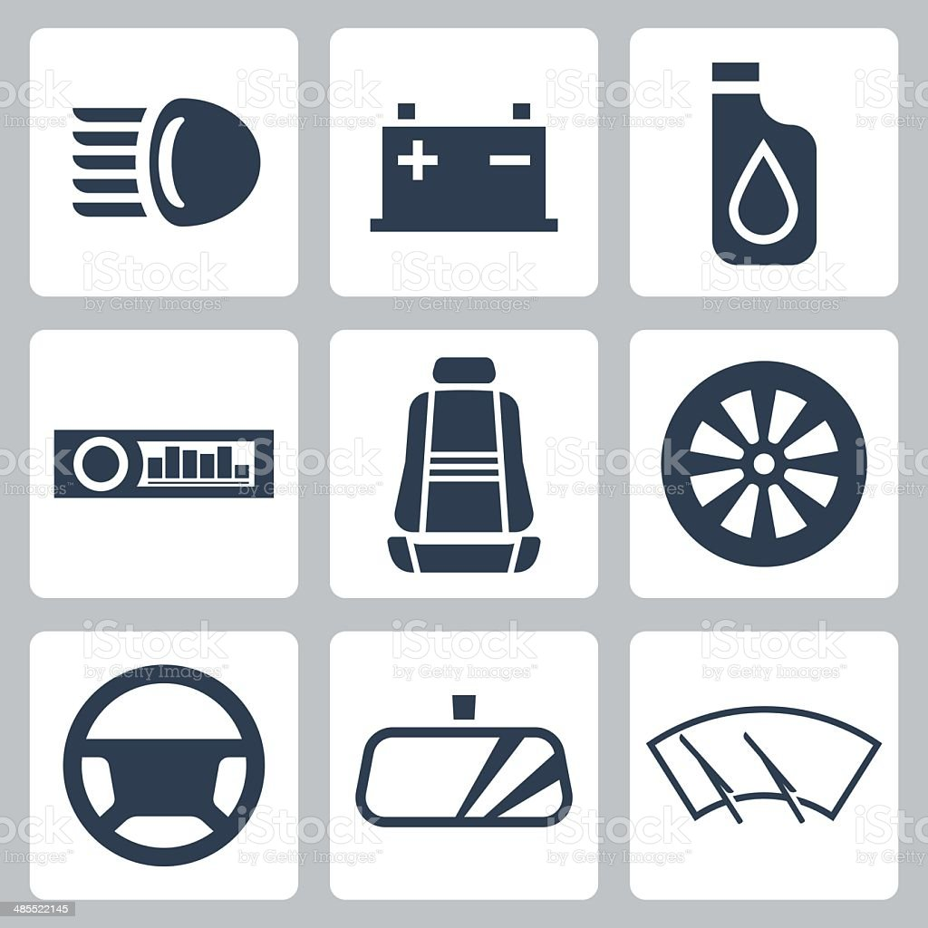 Vector auto parts icons set vector art illustration