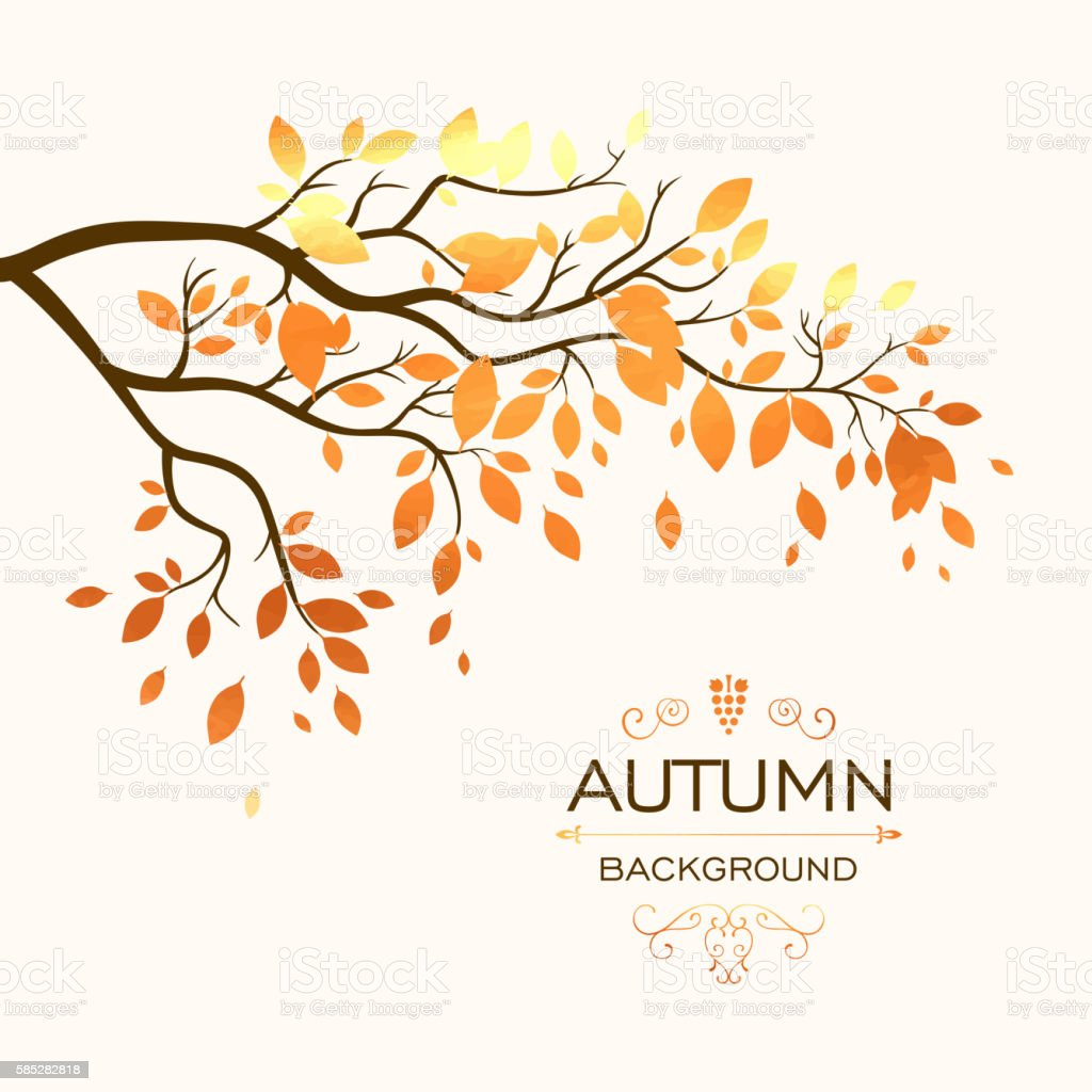 Vector Autumn Branch with Gold Paper Leaves vector art illustration