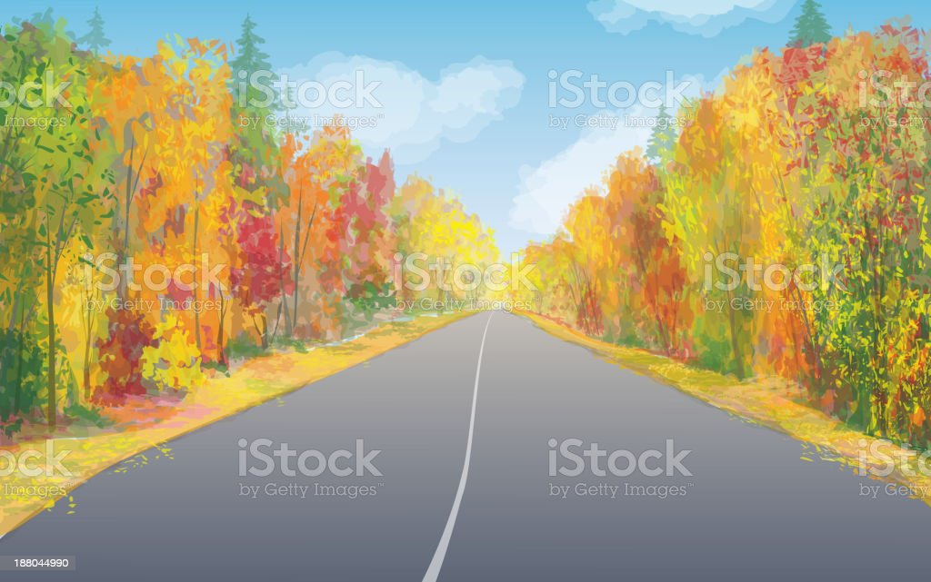 Vector autumn landscape with empty road. vector art illustration