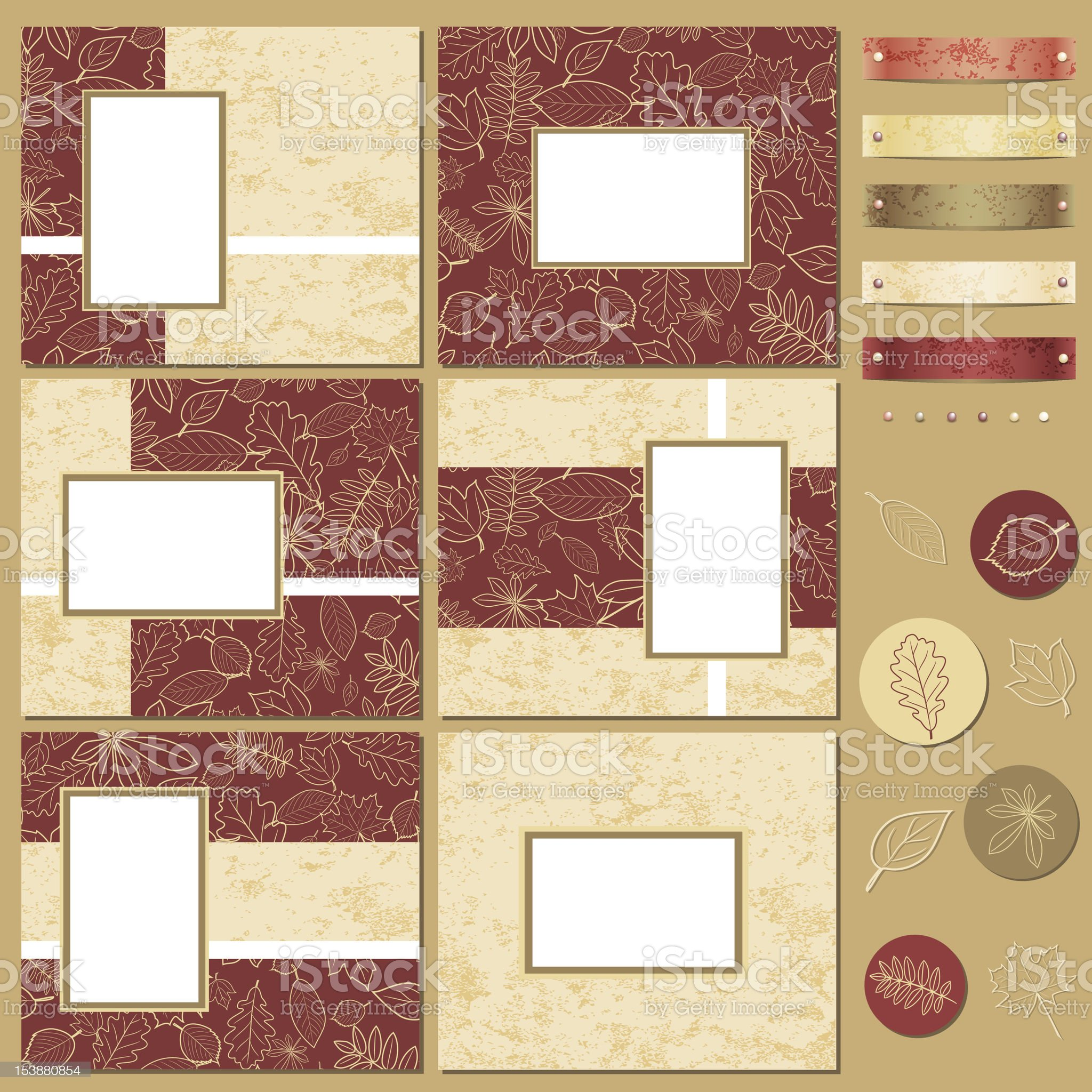 Vector Autumn Mini Album Kit royalty-free stock vector art