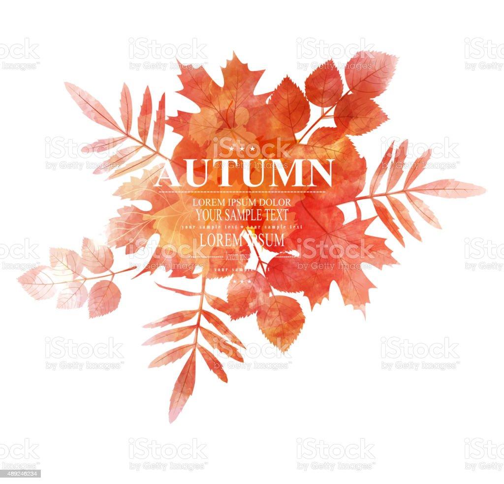 vector autumn, orange, leaves (imitation of watercolors) vector art illustration