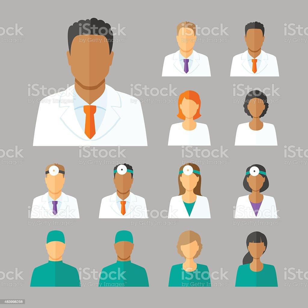 Vector avatars of doctors for medical forum vector art illustration