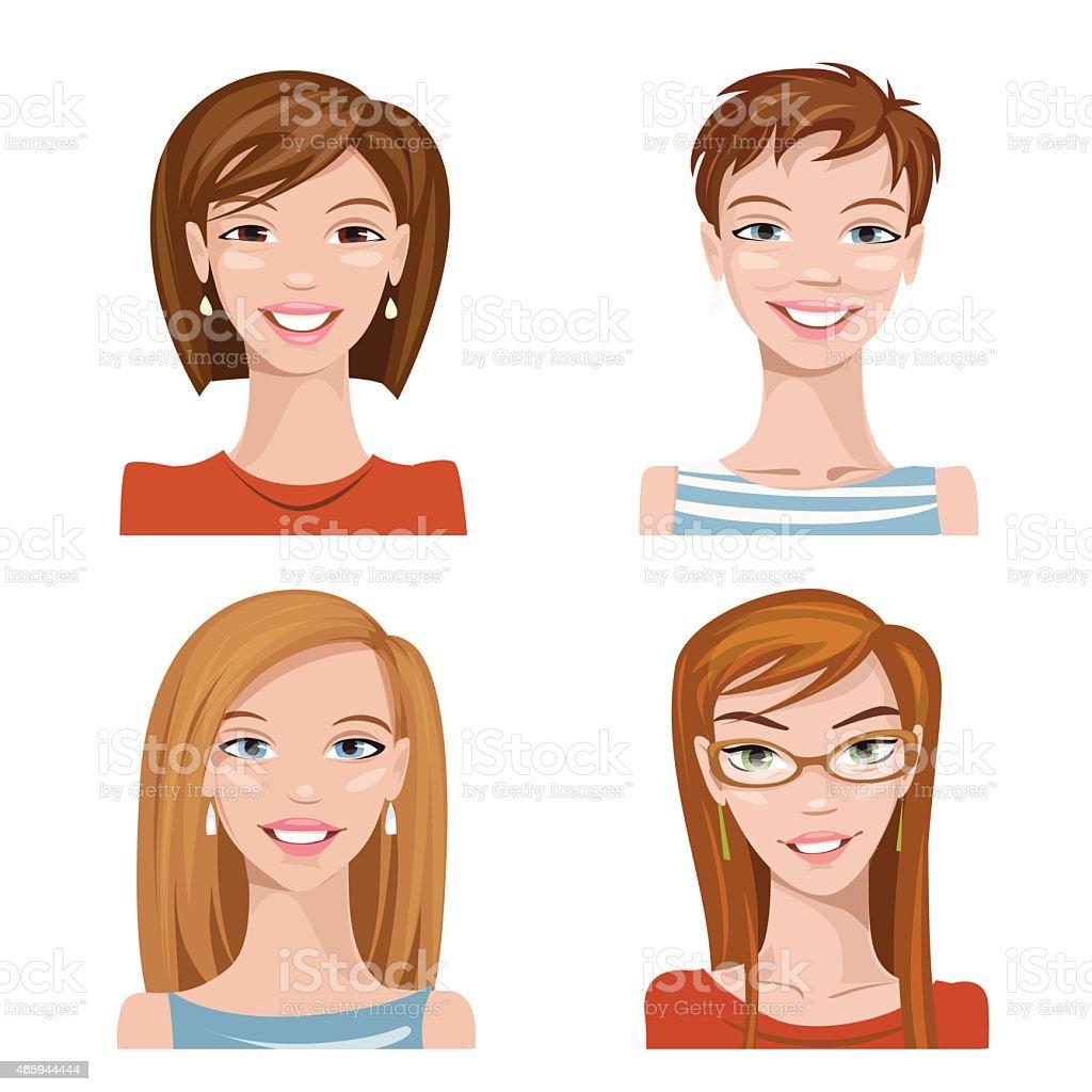 Vector avatars. Set of four portraits. Female characters. vector art illustration