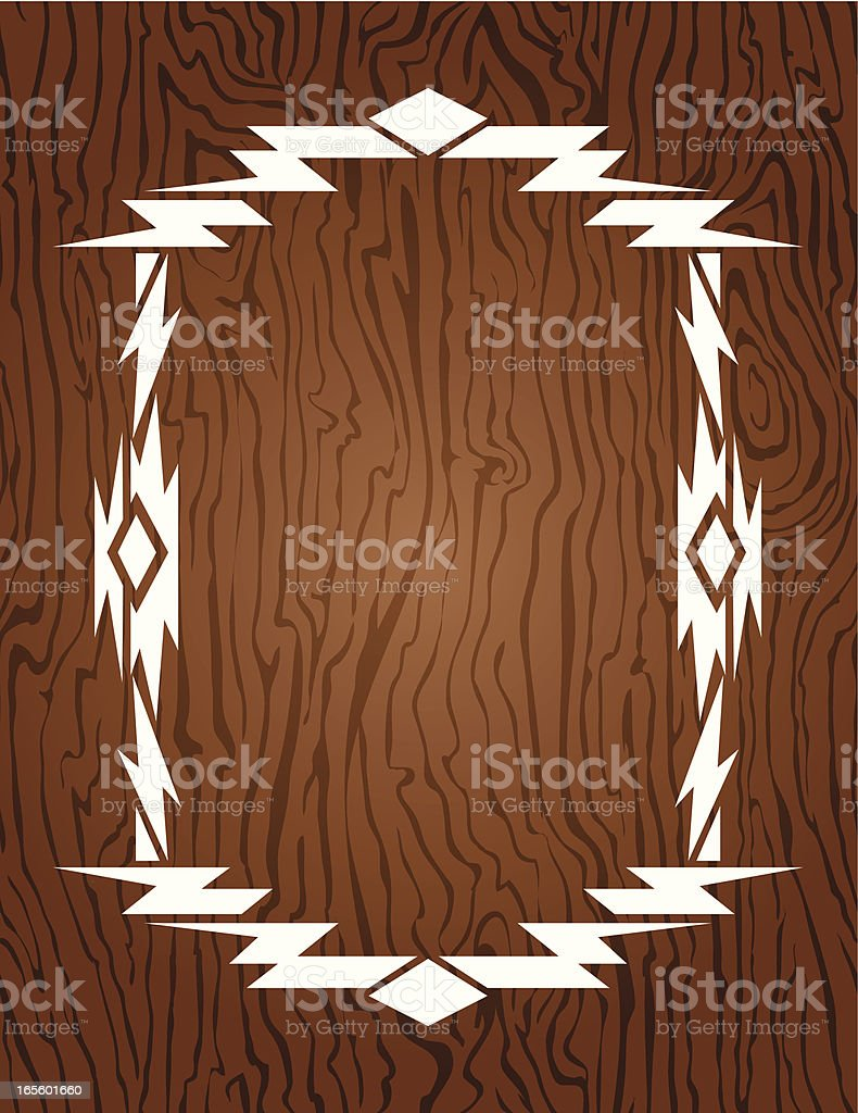 Vector - aztec, native american frame on wood swatch royalty-free stock vector art