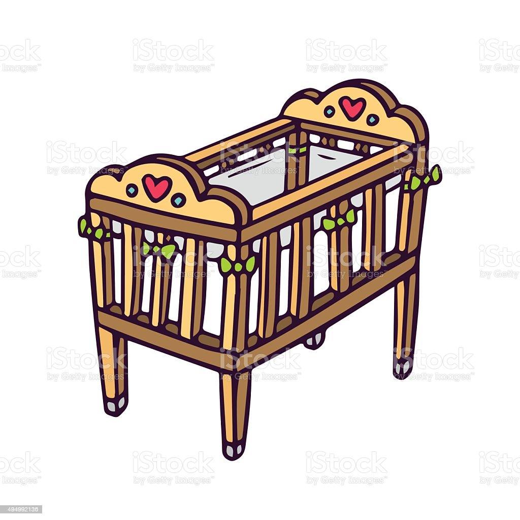 Vector baby crib isolated on white vector art illustration
