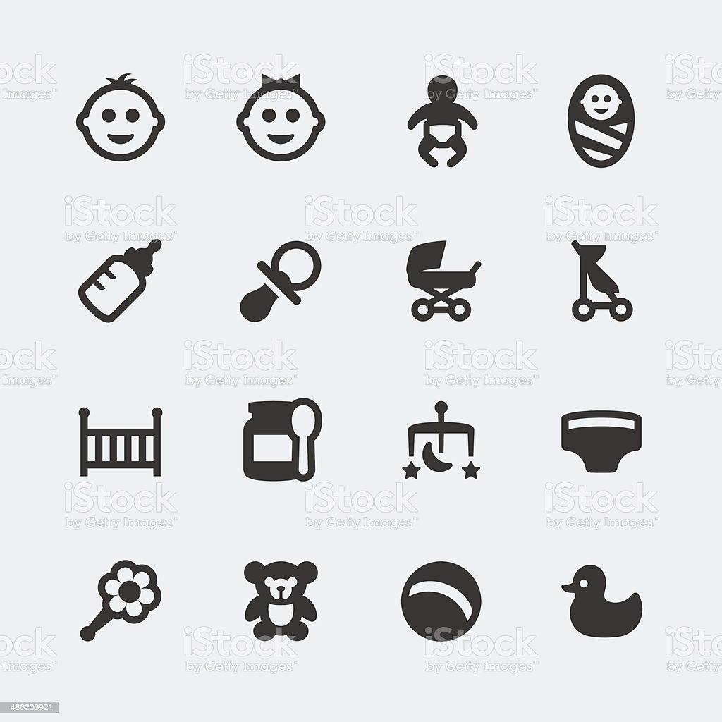 Vector baby mini icons set vector art illustration