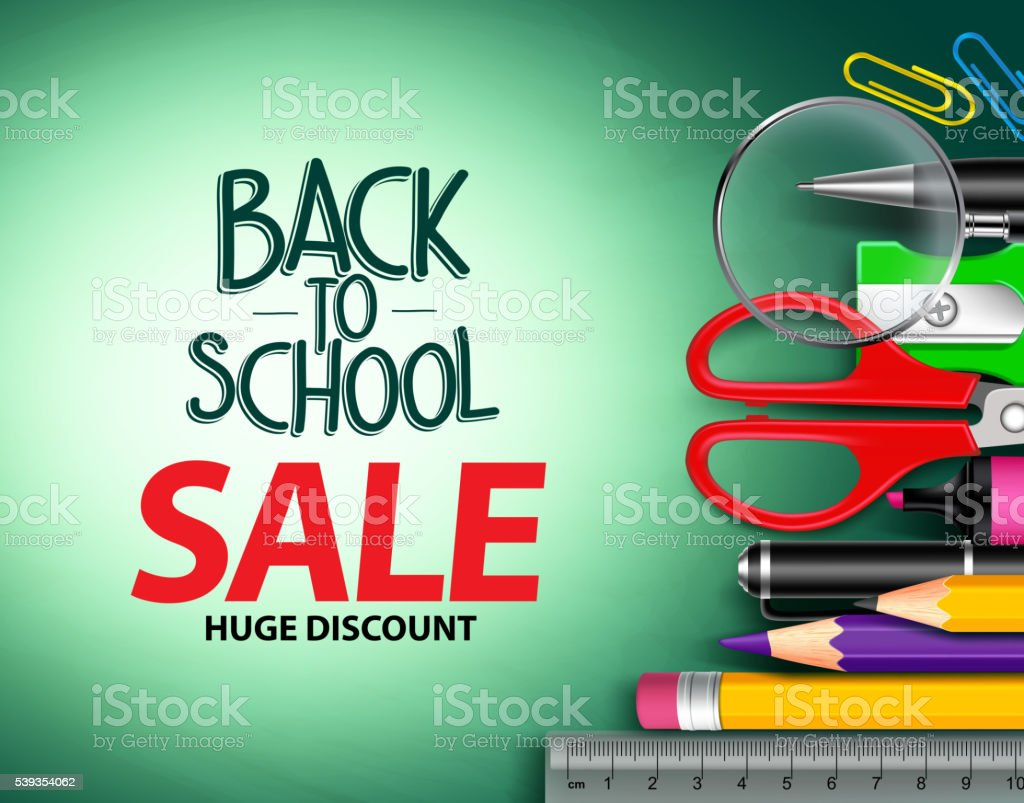 Vector back to school sale text in green background vector art illustration