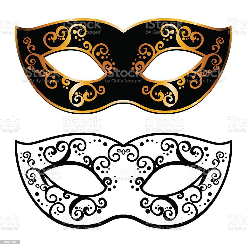 Vector back venetian carnival mardi gras party mask vector art illustration