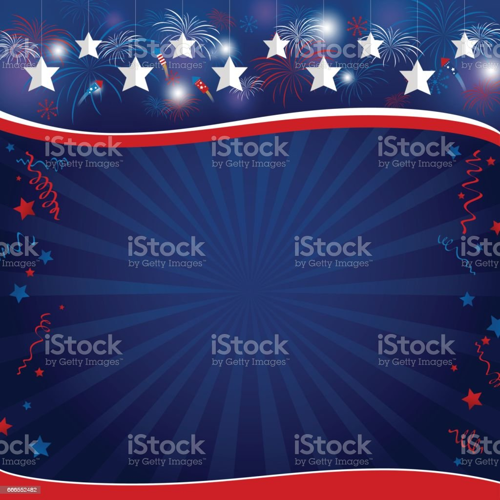 Vector background design of USA holiday or other celebration vector art illustration