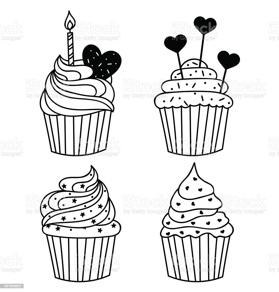 Vector background. Hand drawn cupcake with birthday candle. food illustration vector art illustration