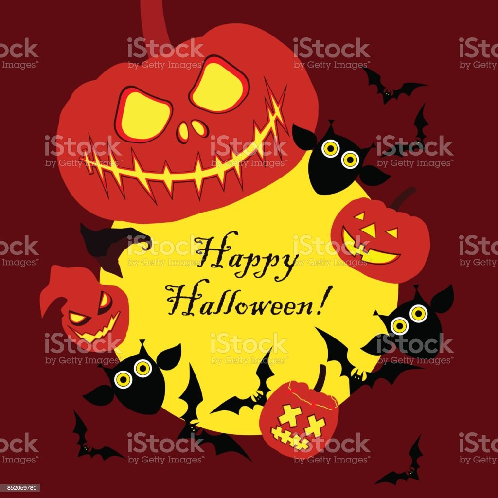 Vector background Happy Halloween. Halloween Party with pumpkins. Poster, postcard. Textile rapport. vector art illustration
