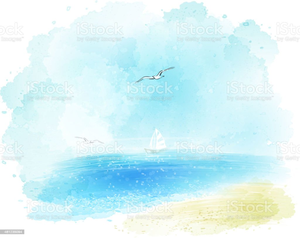 Vector background of a watercolor seascape vector art illustration