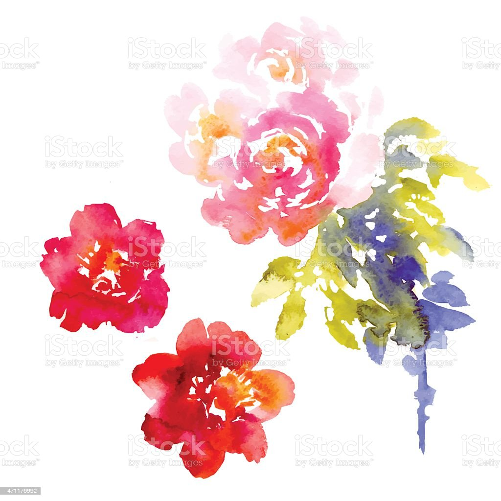 A vector background of pink and purple flowers in watercolor vector art illustration