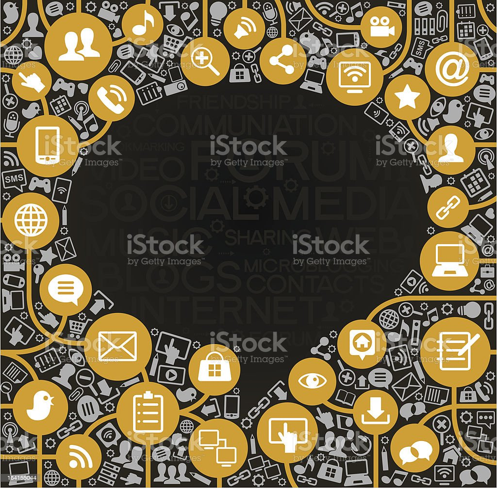 vector background speech bubble shape and network icons royalty-free stock vector art