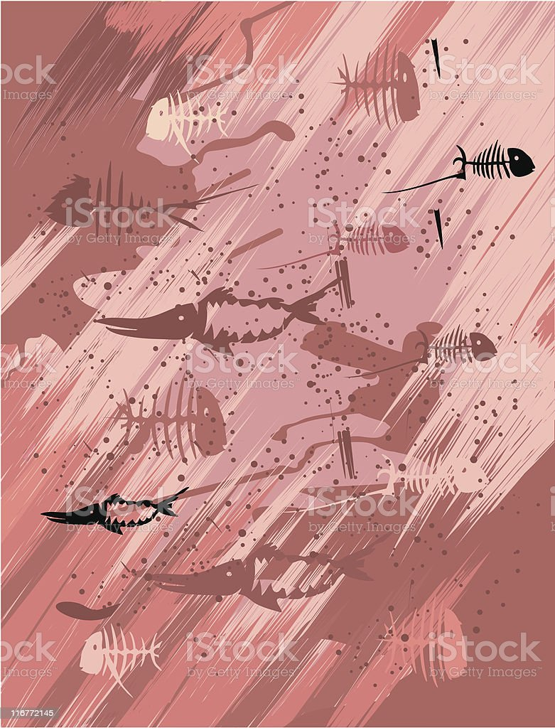 Vector background witch the petroglyph fishes royalty-free stock vector art