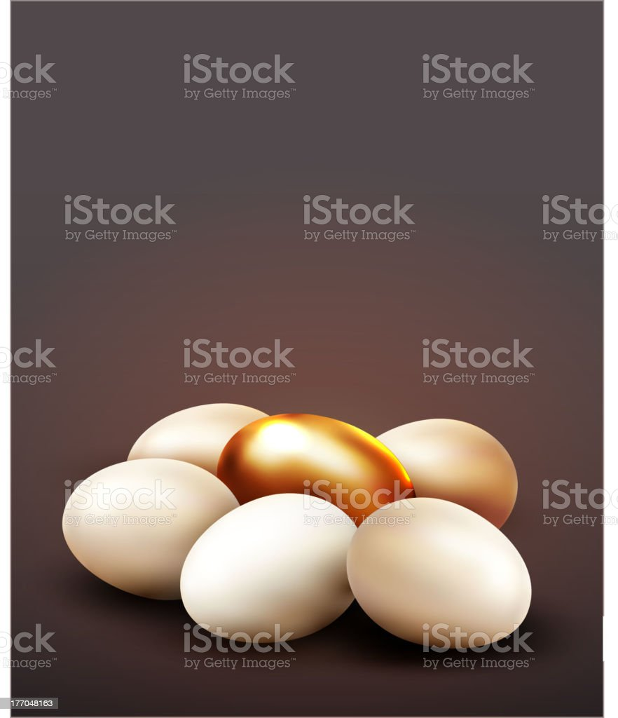 vector background with a golden egg surrounded by normal eggs royalty-free stock vector art
