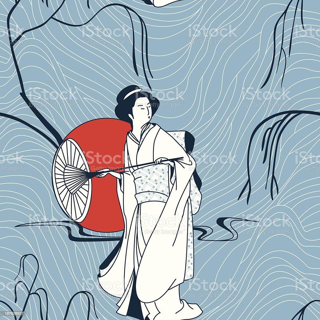 Vetor de fundo com uma garota do Japão vetor e ilustração royalty-free royalty-free