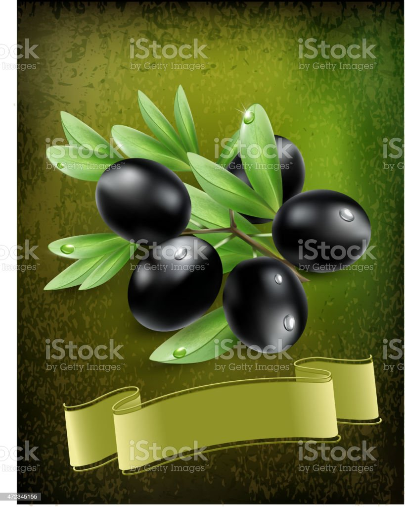 vector background with black olives and a ribbon royalty-free stock vector art