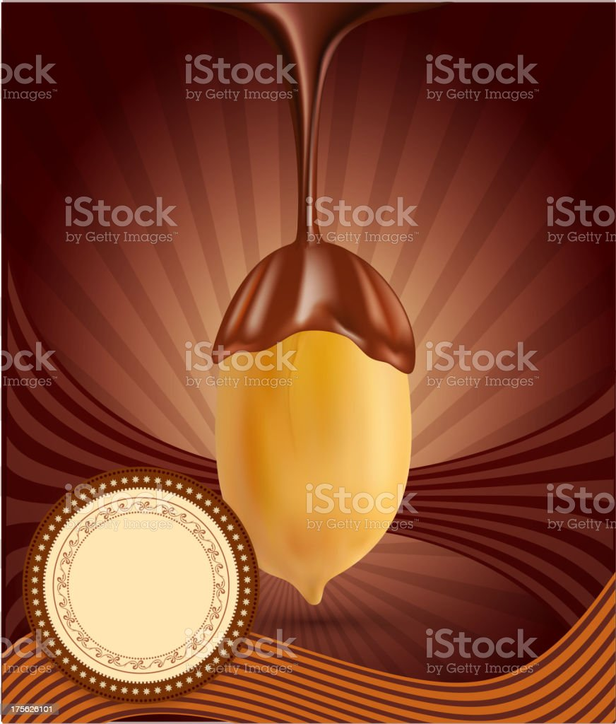 vector background with chocolate and peanuts royalty-free stock vector art