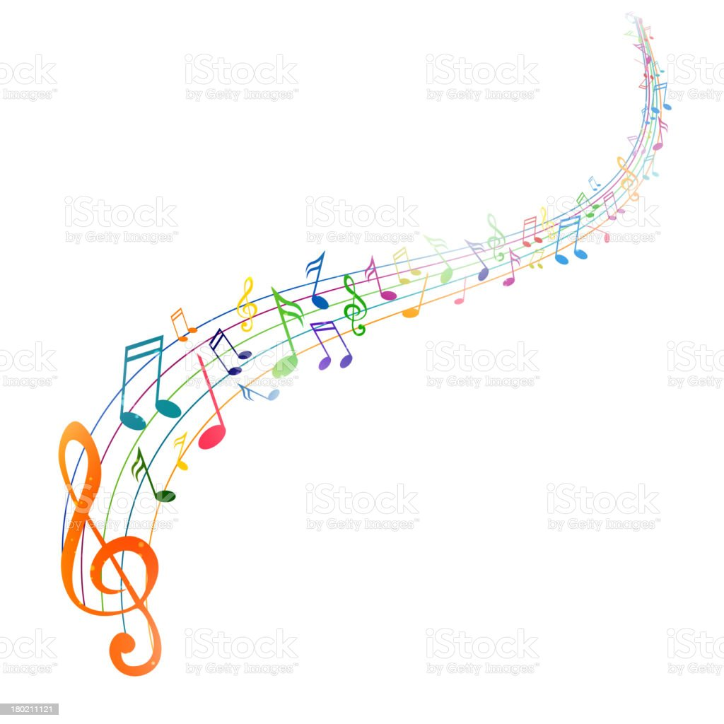 Vector Background with Colorful Music notes vector art illustration