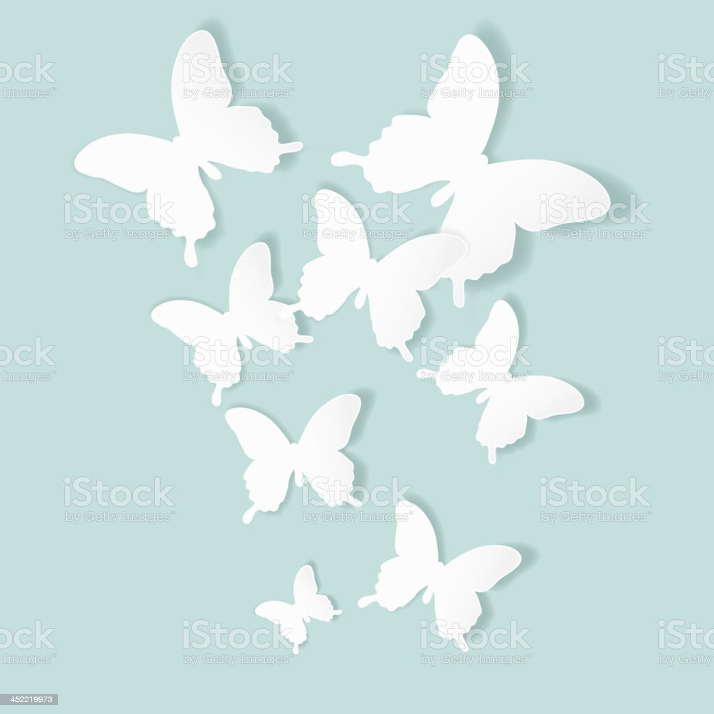 Vector background with cutout butterflies royalty-free stock vector art