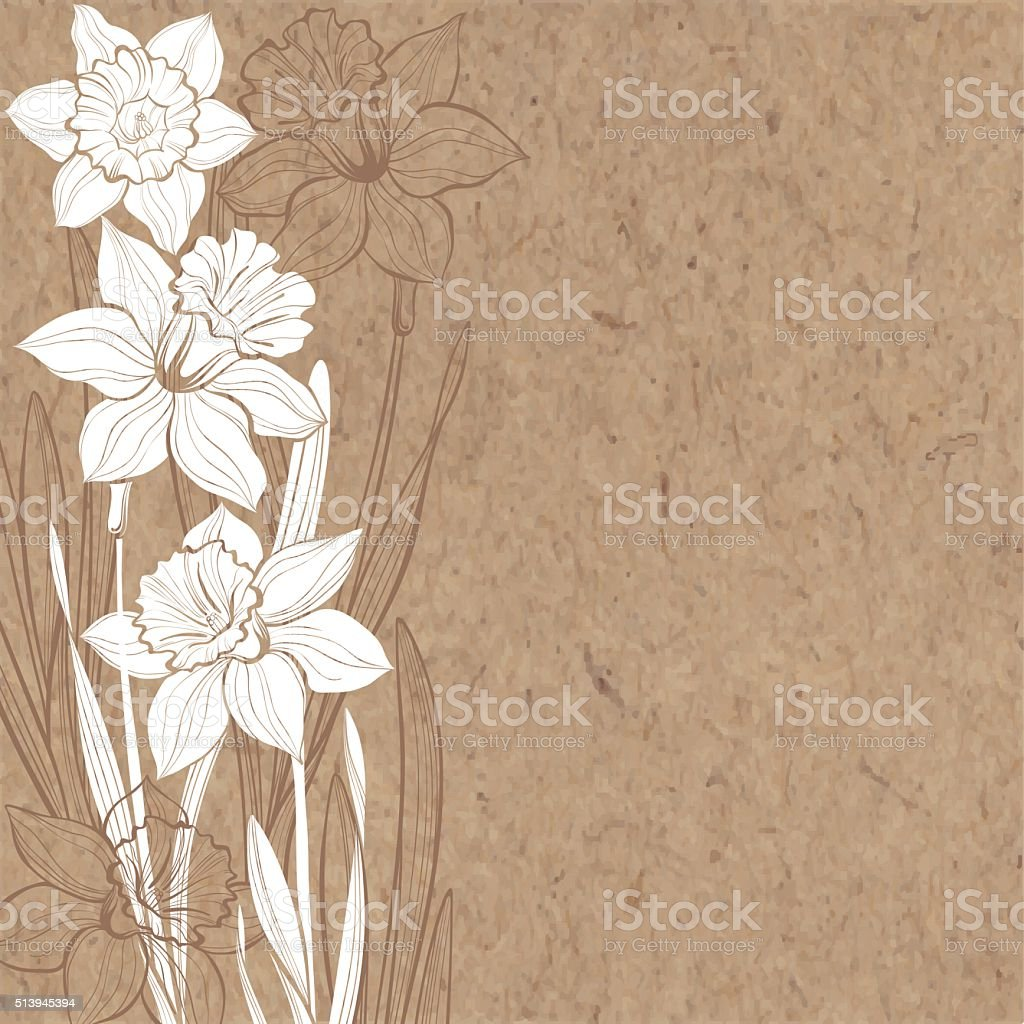 Vector background with daffodils and space for text . vector art illustration