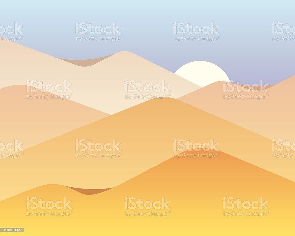 Vector background with dunes vector art illustration