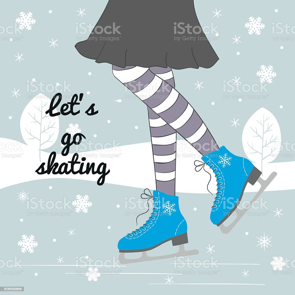 Vector background with feet in figure skates. vector art illustration
