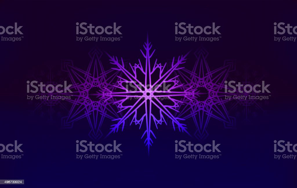 Vector background with glowing snowflakes vector art illustration