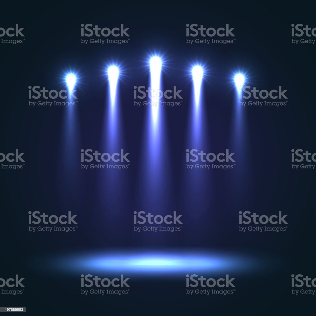 Vector Background With Group Bright Spotlights vector art illustration