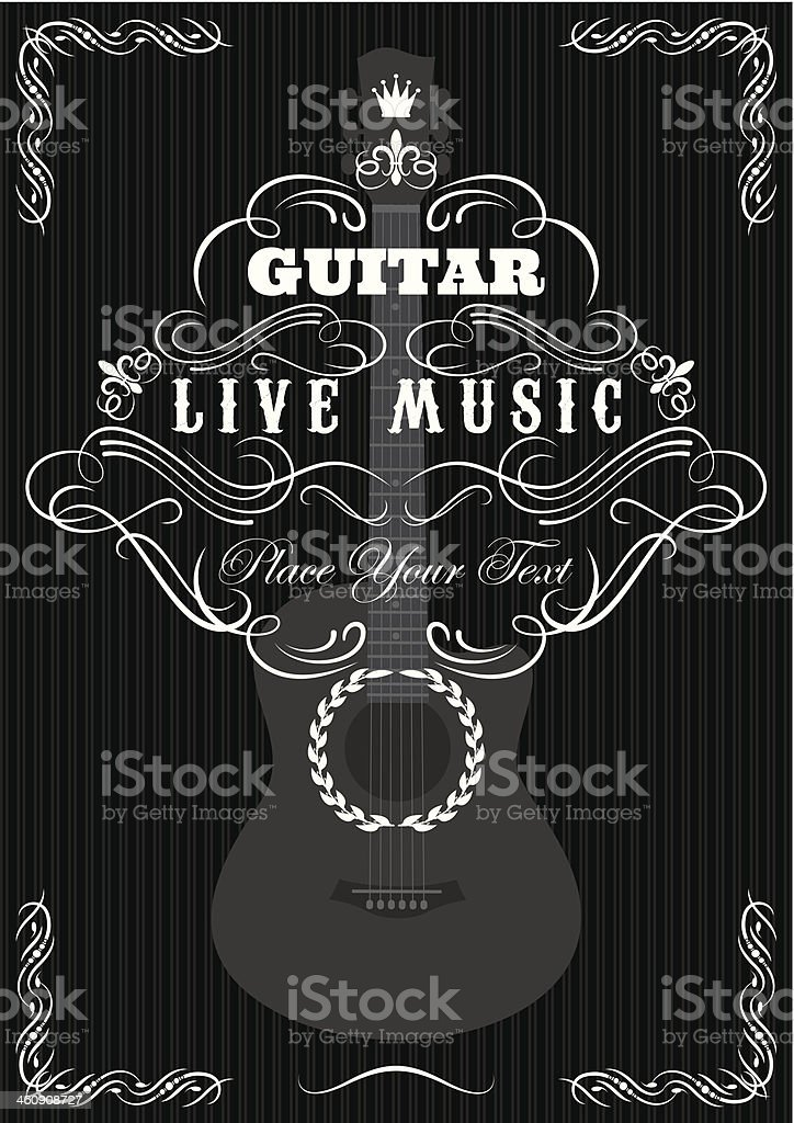 Vector background with guitar and text in gray and white royalty-free stock vector art