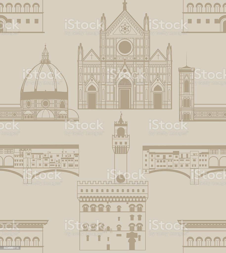 vector background with landmarks of Florence vector art illustration