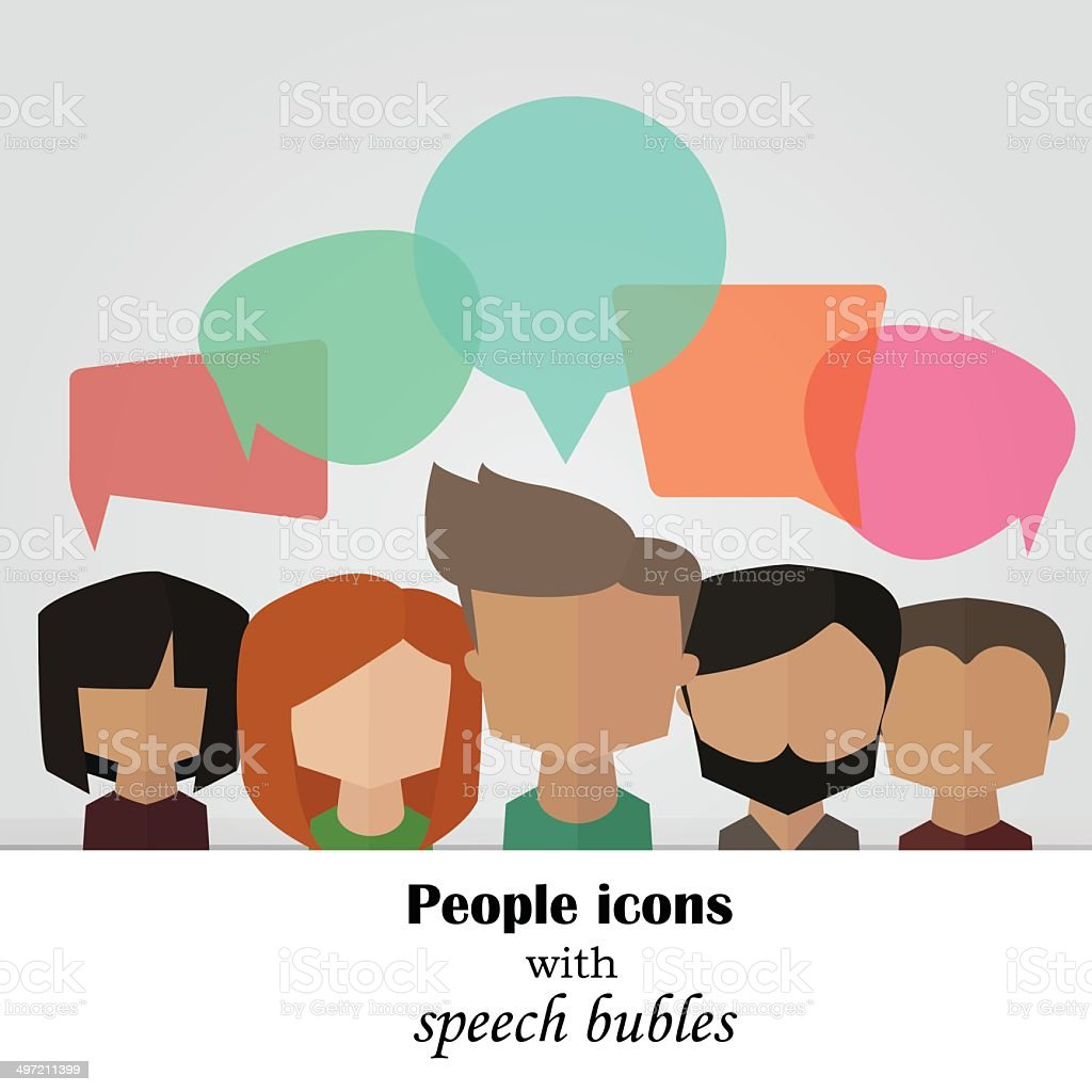 Vector background with people icons with colorful speech bubles vector art illustration