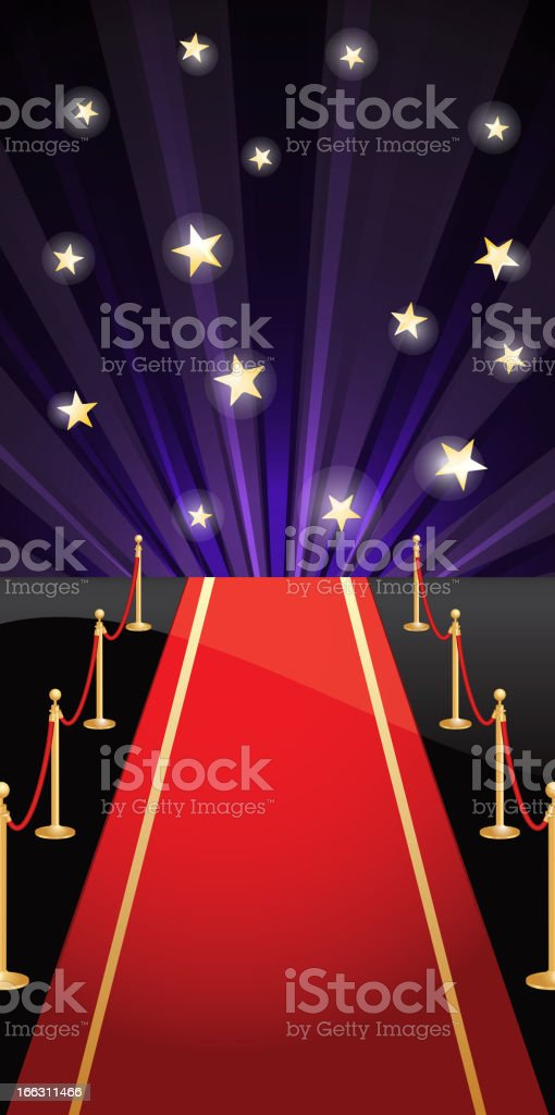 Vector background with red carpet and stars royalty-free stock vector art