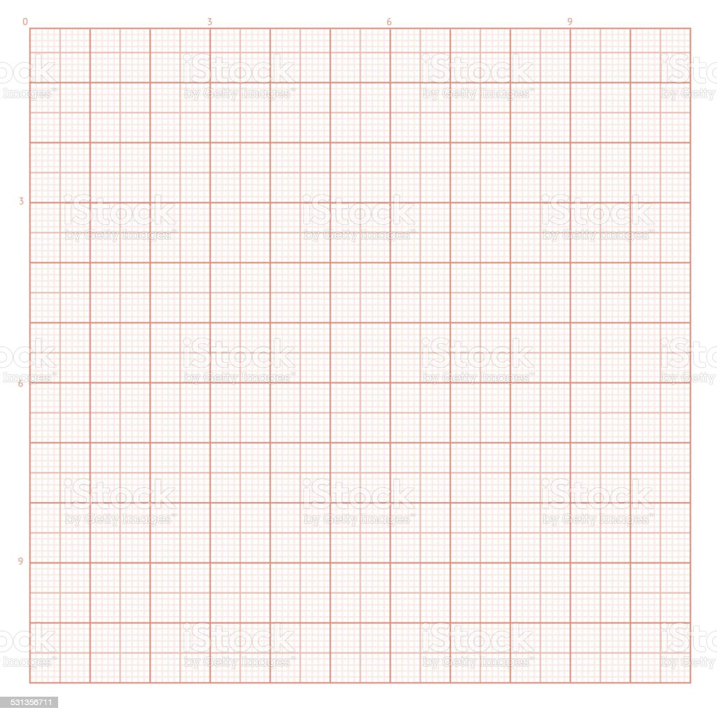 Vector background with red graph paper vector art illustration