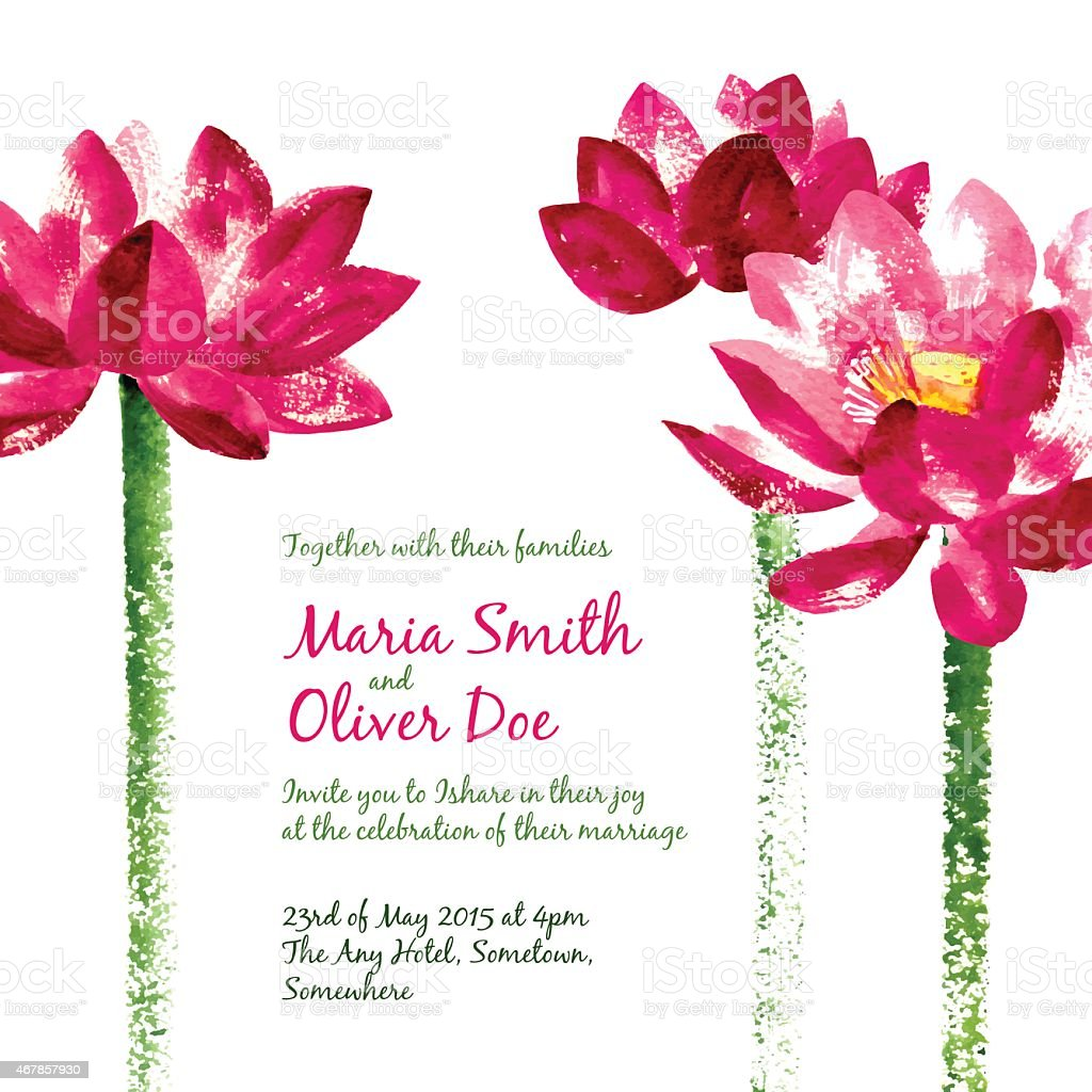 Vector background with red watercolor lotus vector art illustration