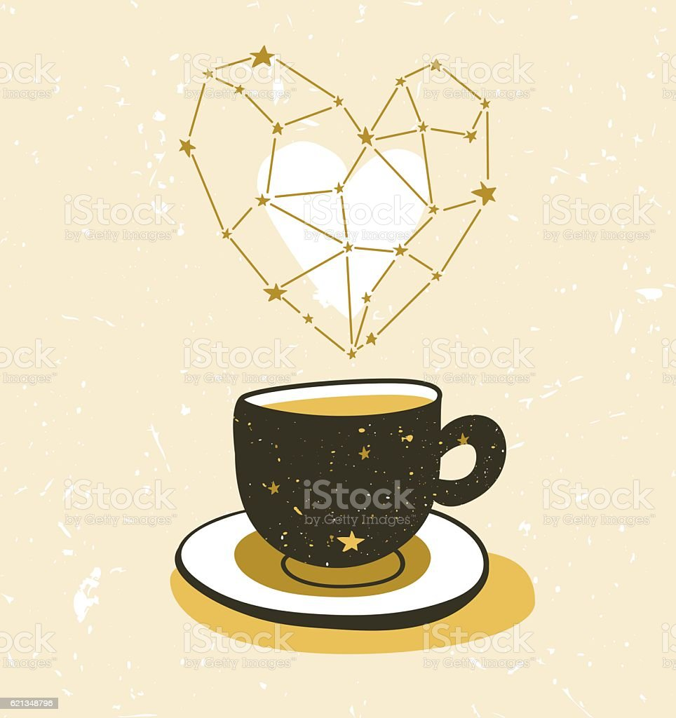 Vector background with space cup and aroma star heart. vector art illustration