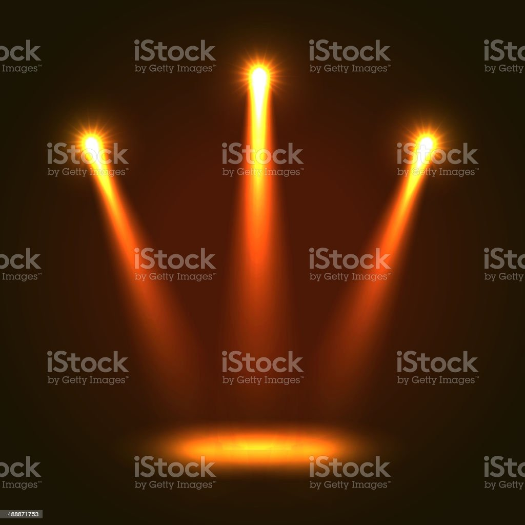 Vector Background With Three Bright Spotlights royalty-free stock vector art