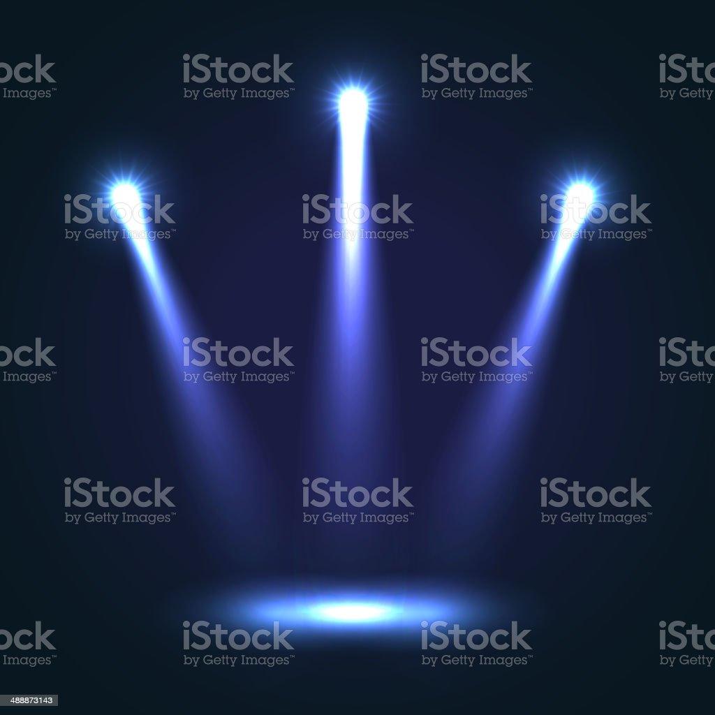 Vector Background With Three Bright Spotlights vector art illustration