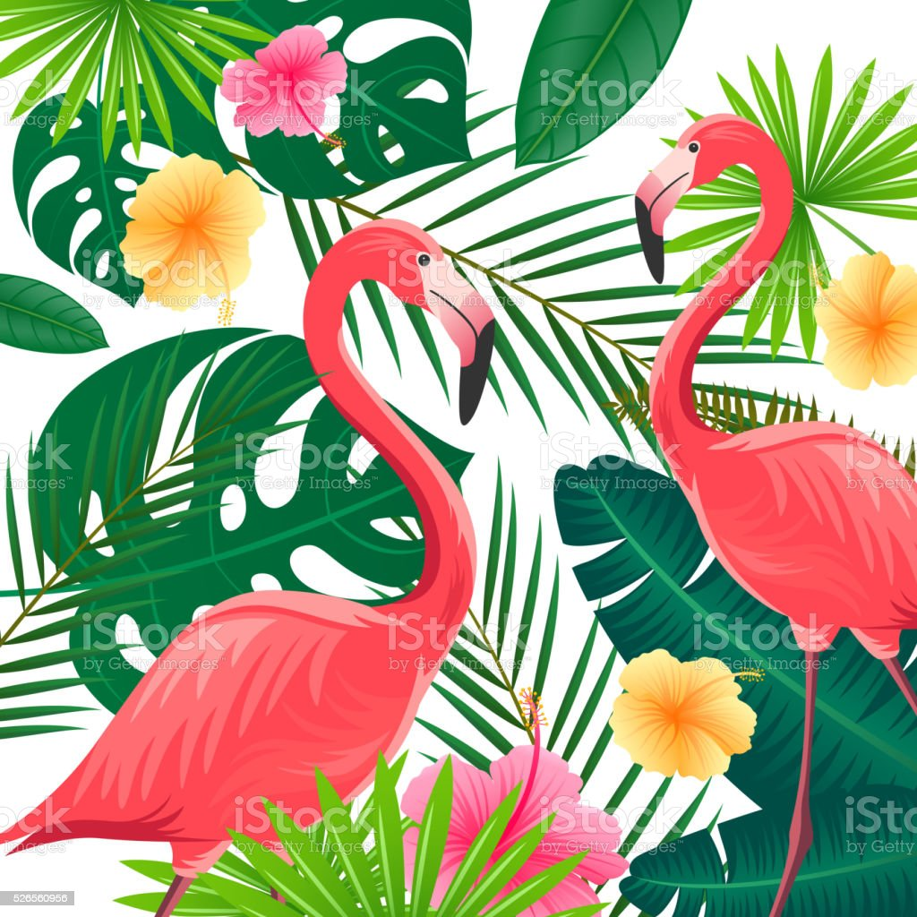 Vector Background with Tropical Leaves, Flowers and Flamingos vector art illustration