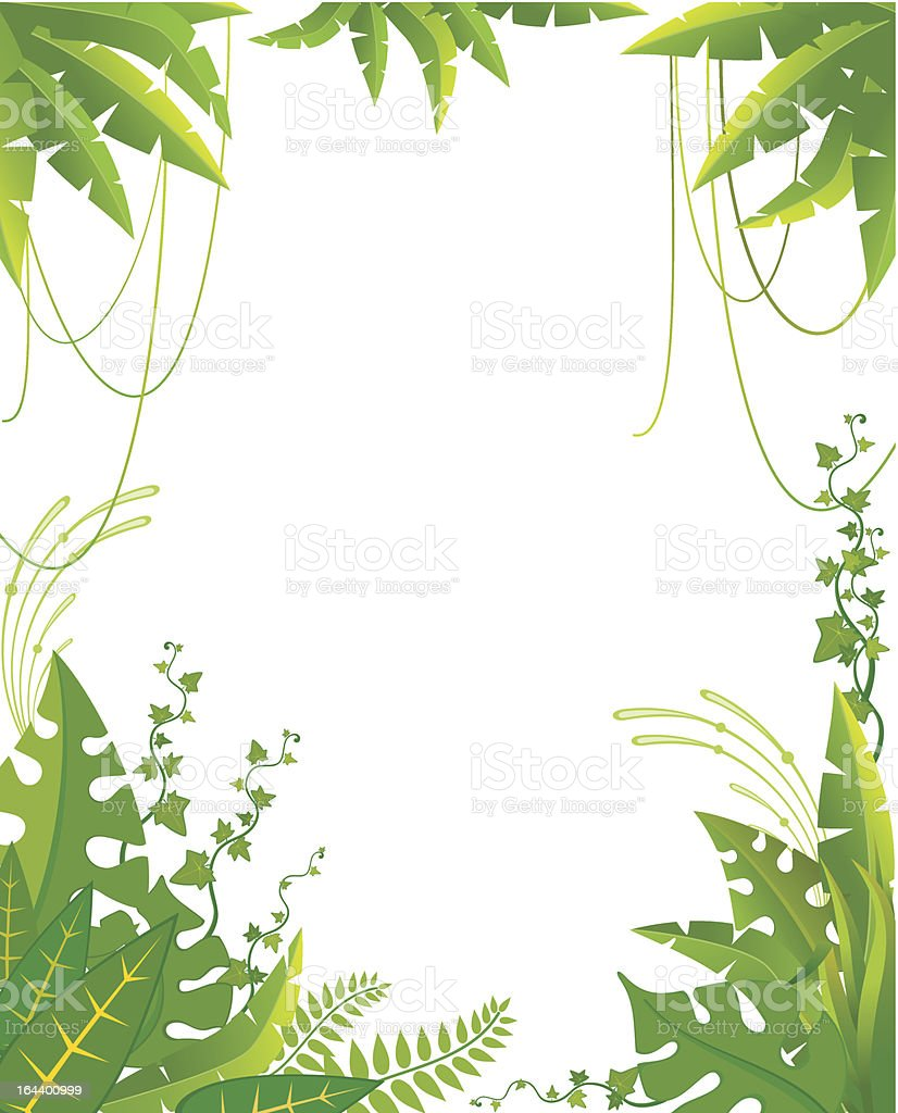 Vector background with tropical plants vector art illustration