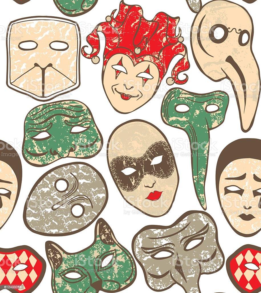 vector background with Venetian carnival masks vector art illustration