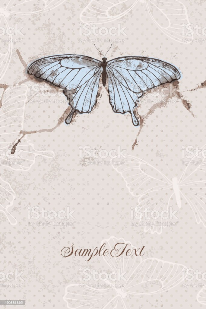 Vector background with watercolor butterfly royalty-free stock vector art